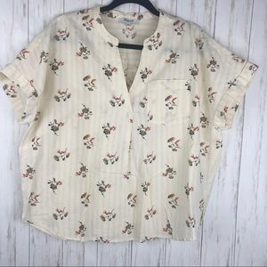 Madewell cream floral top size large